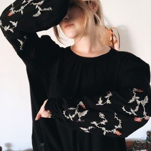 Loft | Embroidered Floral Sleeve Fall Long Sleeve